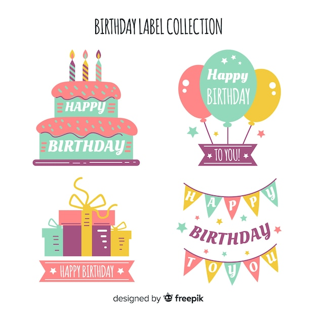 Geburtstags-label-sammlung Kostenlosen Vektoren