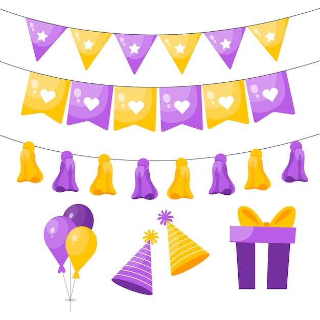 Geburtstagsdekoration mit gelben und violetten elementen Kostenlosen Vektoren