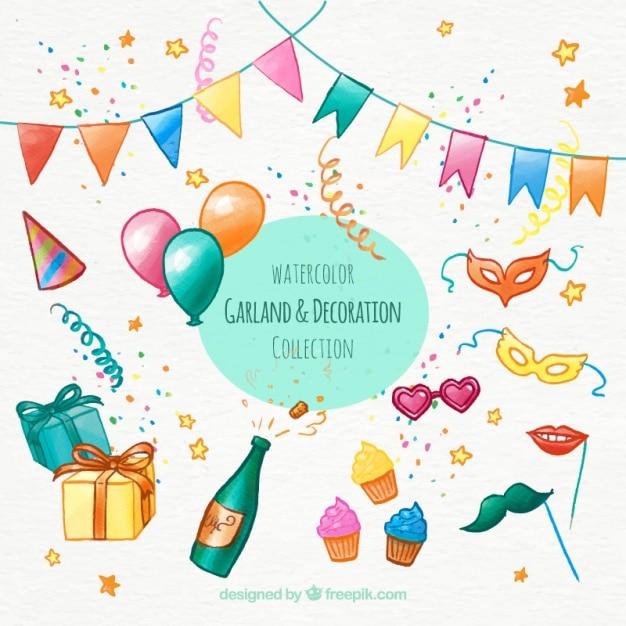 Geburtstagsdekoration mit hand bemalt elemente download Geburtstagsdekoration