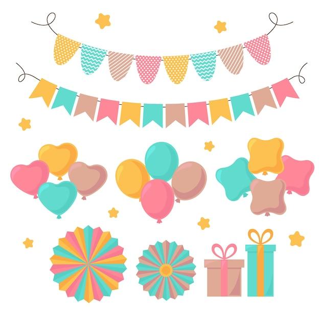 Geburtstagsdekoration pack Kostenlosen Vektoren