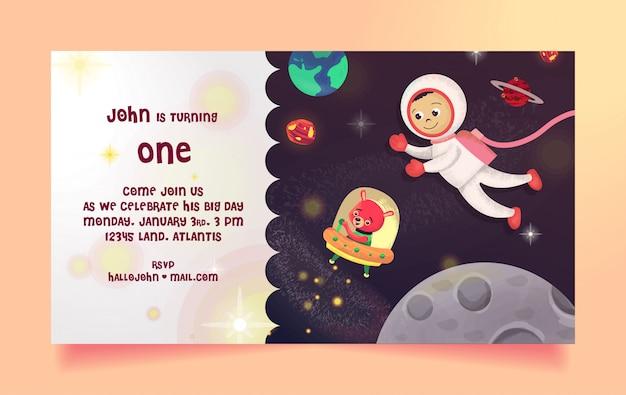 Geburtstagseinladung mit space theme, astronaut und bär frei Premium Vektoren