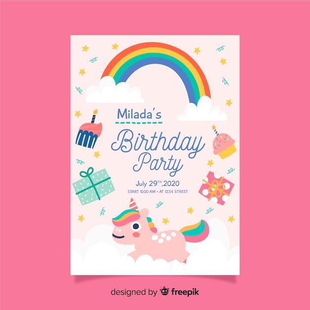 Geburtstagseinladungsschablone der kinder mit regenbogen Premium Vektoren