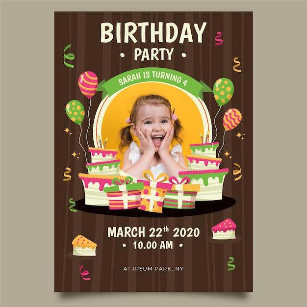 Geburtstagseinladungsschablone des kindes Kostenlosen Vektoren