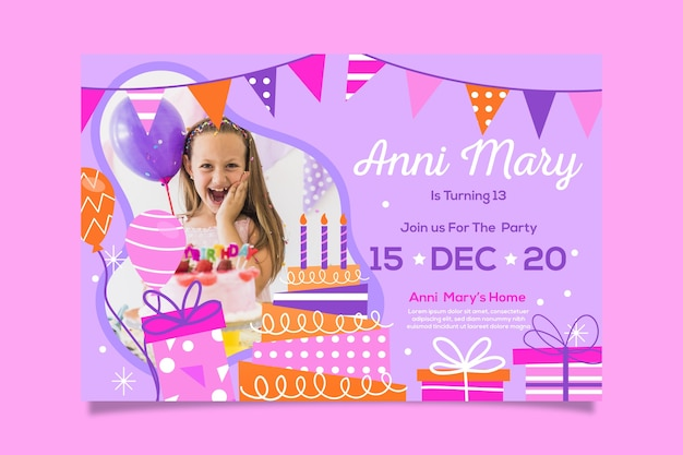 Geburtstagseinladungsschablone des mädchens mit foto Kostenlosen Vektoren