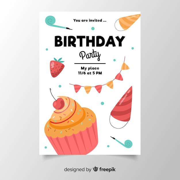Geburtstagseinladungsschablone im flachen design Kostenlosen Vektoren