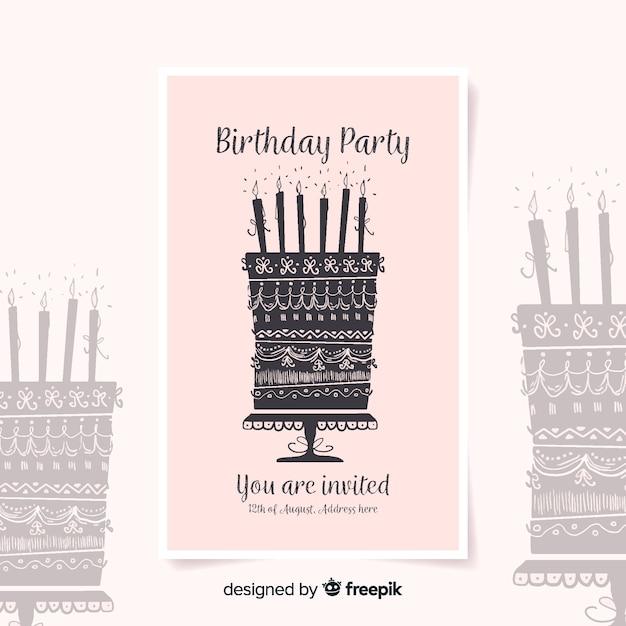Geburtstagseinladungsschablone in der aquarellart Kostenlosen Vektoren