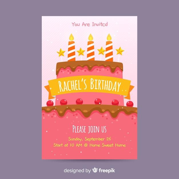 Geburtstagseinladungsschablone in der flachen art Kostenlosen Vektoren