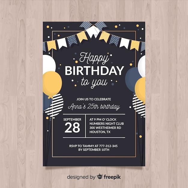Geburtstagseinladungsschablone in der flachen art Premium Vektoren