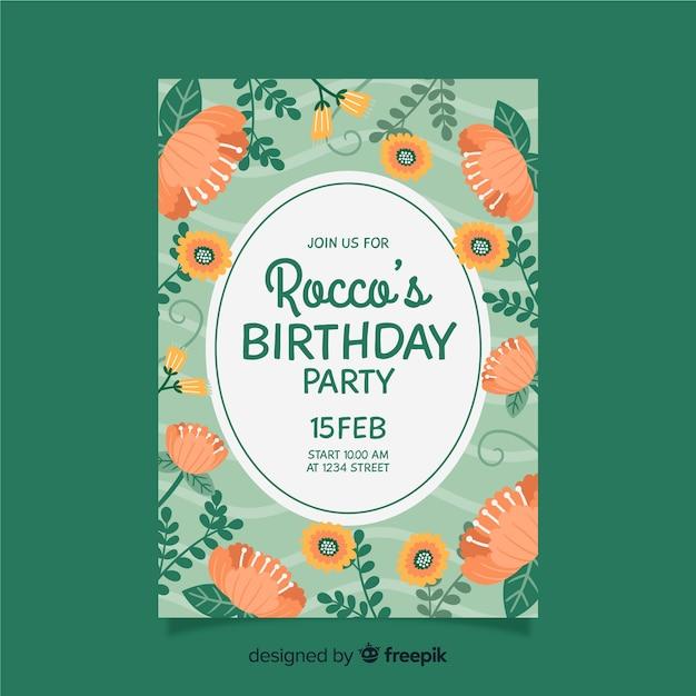Geburtstagseinladungsschablone mit blumen Kostenlosen Vektoren