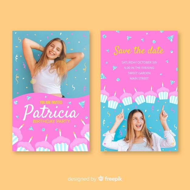 Geburtstagseinladungsschablone mit foto Kostenlosen Vektoren