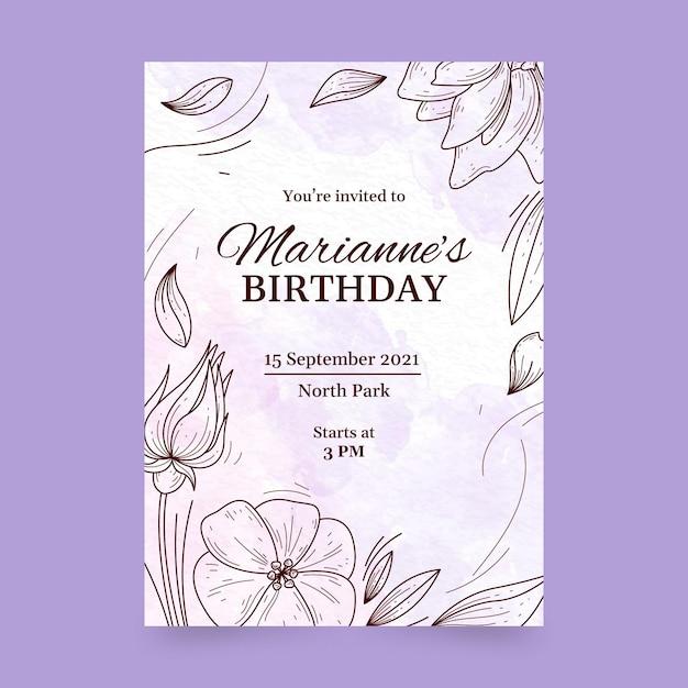 Geburtstagseinladungsschablone Premium Vektoren