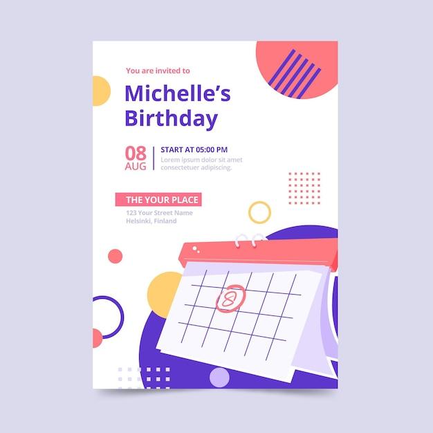 Geburtstagseinladungsschablonenentwurf Kostenlosen Vektoren