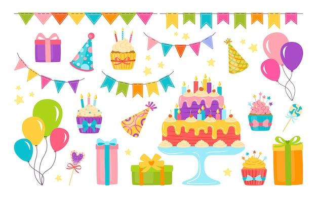 Geburtstagselemente flaches set. cartoon-kuchen, kerze, geschenkbox mit cupcake. party design elemente, luftballons und süßigkeiten. isoliert Premium Vektoren