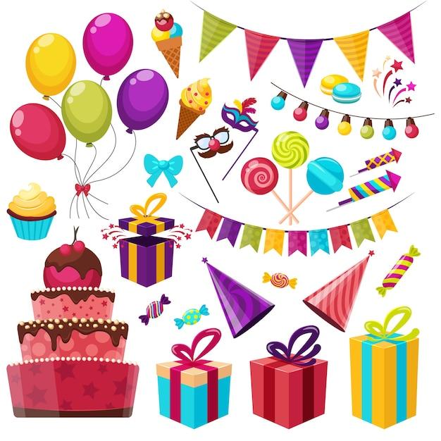 Geburtstagsfeier elemente set Kostenlosen Vektoren