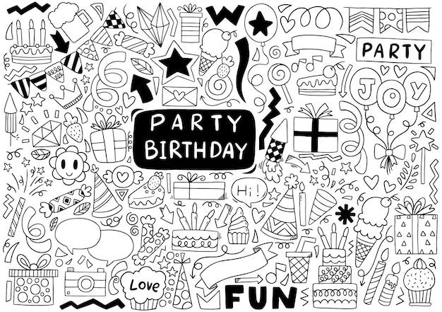Geburtstagsfeier gekritzel Premium Vektoren
