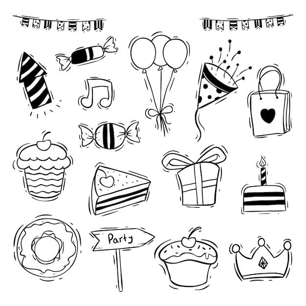 Geburtstagsfeier icons sammlung mit donut, slice cake und cupcake Premium Vektoren