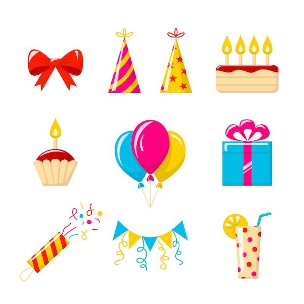 Geburtstagsfeier. reihe von farbigen icons Premium Vektoren