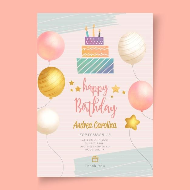 Geburtstagsfeier-schablonenplakat Kostenlosen Vektoren