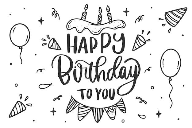 Geburtstagsfeier schriftzug kuchen und luftballons Kostenlosen Vektoren