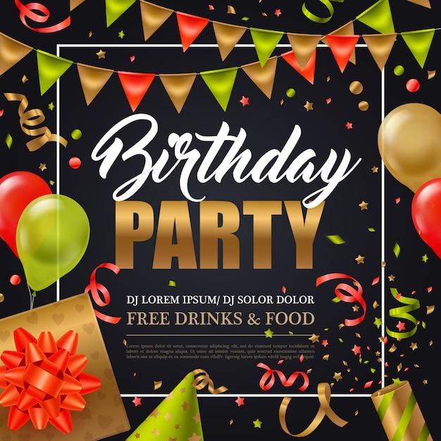 Geburtstagsfeiereinladungsplakat mit bunten feiertagselementen auf flacher vektorillustration des schwarzen hintergrundes Kostenlosen Vektoren