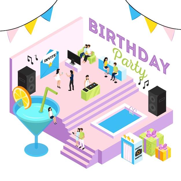 Geburtstagsfeierillustration mit akustischen systemen und den leuten des cocktaillounge-innenswimmingpools, die zu dj tanzen Kostenlosen Vektoren