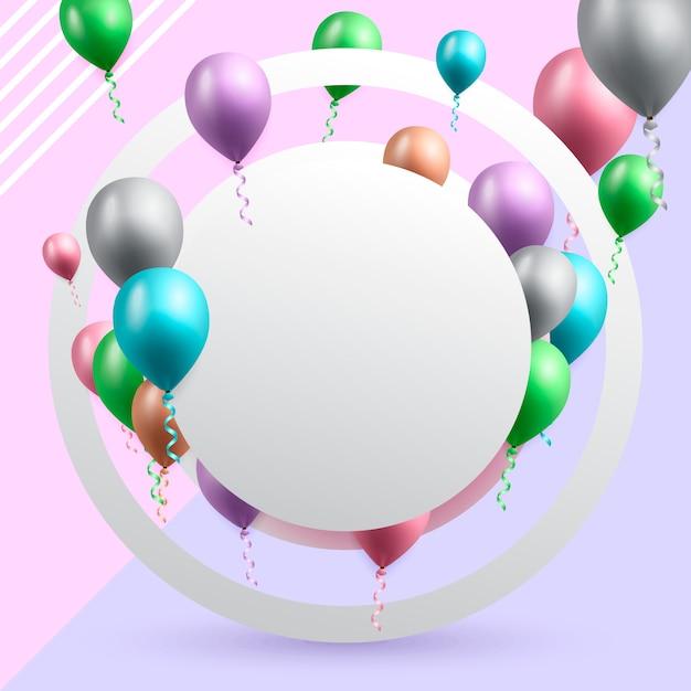 Geburtstagsfeierkarte mit ballonen Premium Vektoren