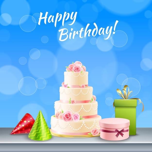 Geburtstagsfeierzubehör realistisch Kostenlosen Vektoren