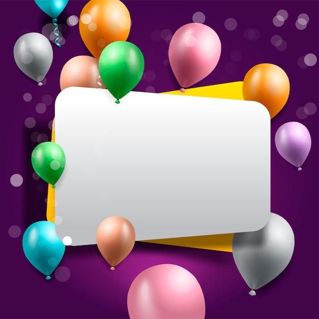Geburtstagsgrußkarte mit ballonen Premium Vektoren