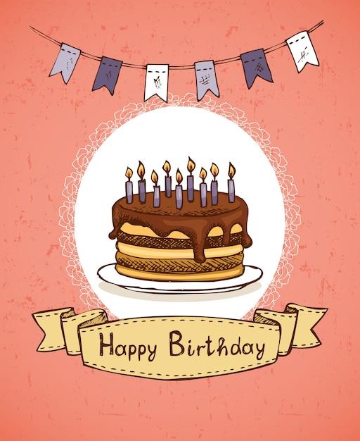 Geburtstagsgrußkarte mit schokoladenkuchen mit flaggen und emblemvektorillustration Kostenlosen Vektoren
