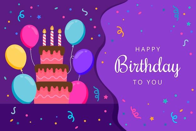 Geburtstagshintergrund mit kuchen und luftballons Kostenlosen Vektoren
