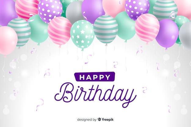Geburtstagshintergrund mit realistischen ballonen Kostenlosen Vektoren