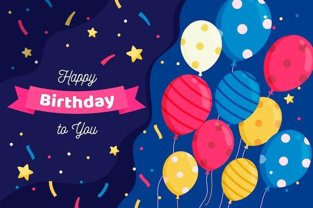Geburtstagshintergrund mit sternen und luftballons Kostenlosen Vektoren