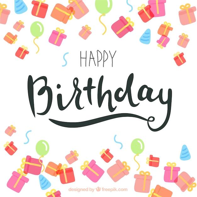 Geburtstagskarte im Schriftzug Stil mit farbigen Geschenke ...