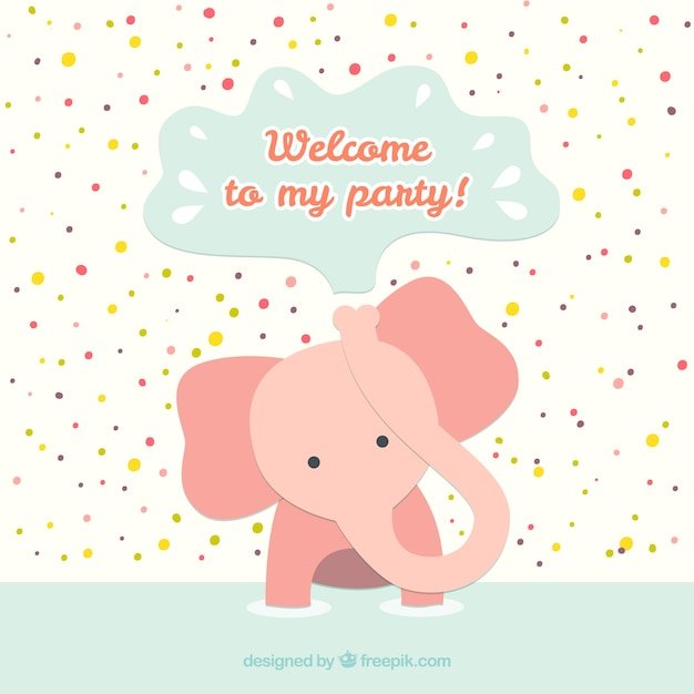 Geburtstagskarte mit Baby-Elefanten | Download der kostenlosen Vektor