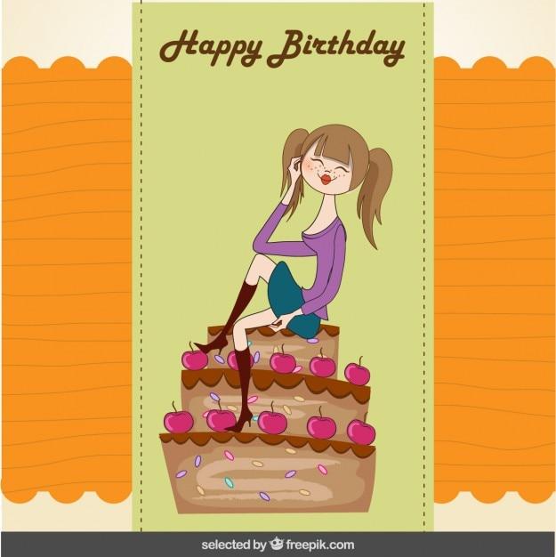 Geburtstagskarte mit einem Mädchen auf Kuchen sitzen | Download der kostenlosen Vektor