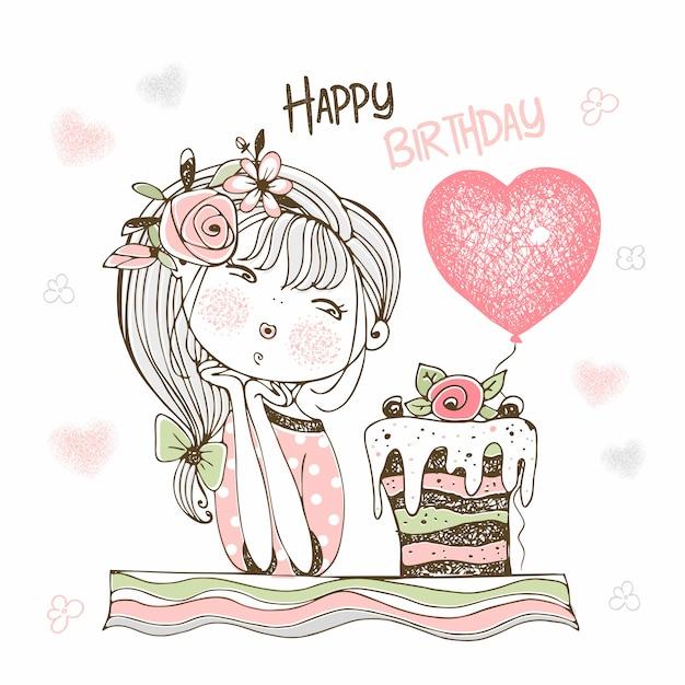 Geburtstagskarte mit einem niedlichen mädchen mit einem kuchen und einem ballon. Premium Vektoren