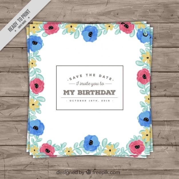 Geburtstagskarte von Hand farbigen Blumen gezeichnet | Download der ...