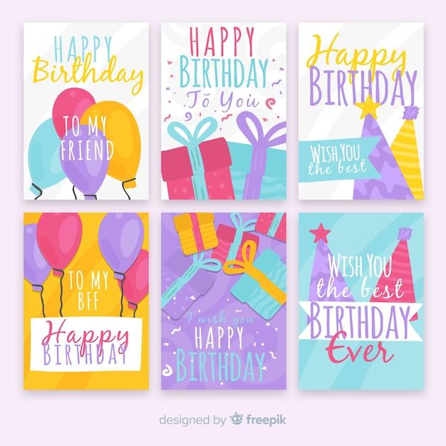 Geburtstagskarten-sammlung Kostenlosen Vektoren