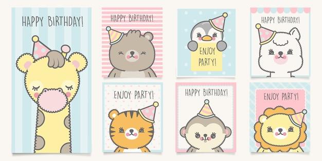 Geburtstagskarten set Premium Vektoren