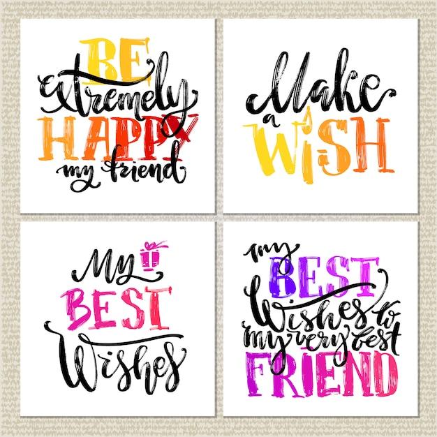 Geburtstagskarten. verschiedene wörter über geburtstag auf weißem hintergrund. Premium Vektoren