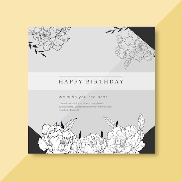 Geburtstagskartenschablone mit blumenverzierungen Kostenlosen Vektoren