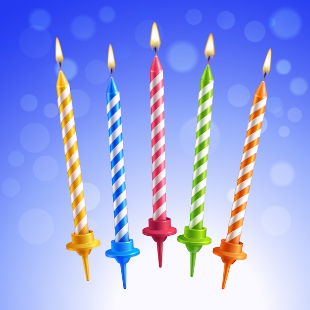 Geburtstagskerzen eingestellt Kostenlosen Vektoren