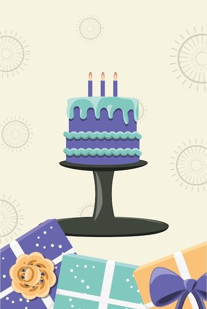 Geburtstagskuchen mit Kerzen und dekorativer Rahmen von ...
