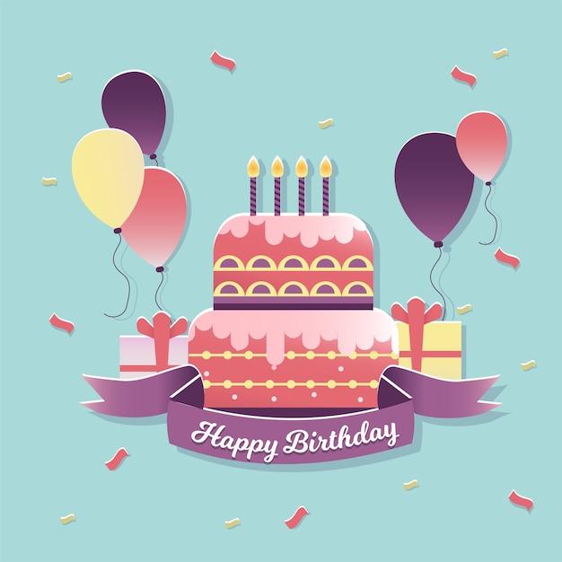Geburtstagskuchen und ballons Premium Vektoren