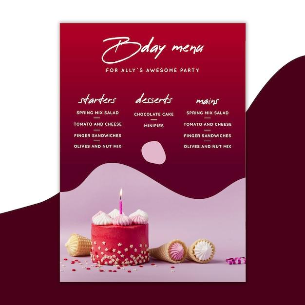 Geburtstagsmenüvorlage mit kuchen Premium Vektoren