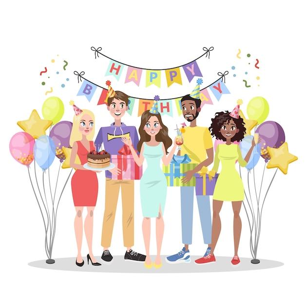 Geburtstagsparty. glückliche leute auf feier mit geschenkbox. kuchen und alkohol, musik und dekoration. jubiläumsparty. illustration Premium Vektoren
