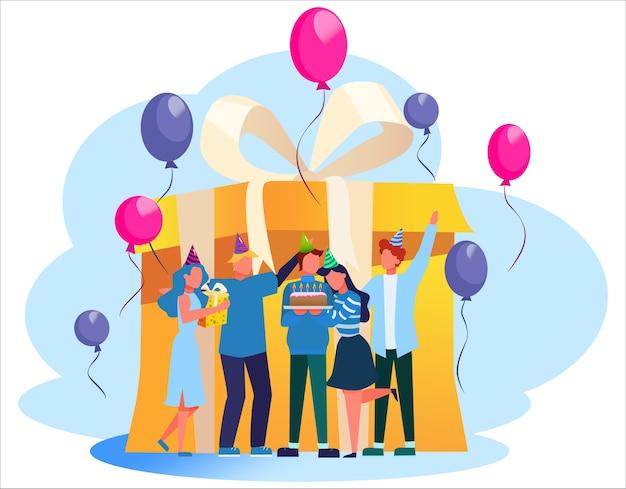 Geburtstagsparty. glückliche leute auf feier um eine große geschenkbox. kuchen, musik und dekoration. jubiläumsparty. illustration Premium Vektoren