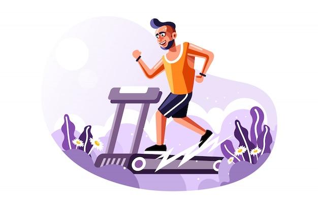 Geeigneter mann, der auf tretmühle mit einer neuen karikatur-vektor-art-vektor-illustration läuft Premium Vektoren