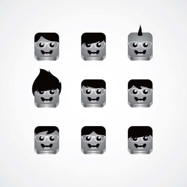 Geek kerl avatar porträt gesetzt Premium Vektoren