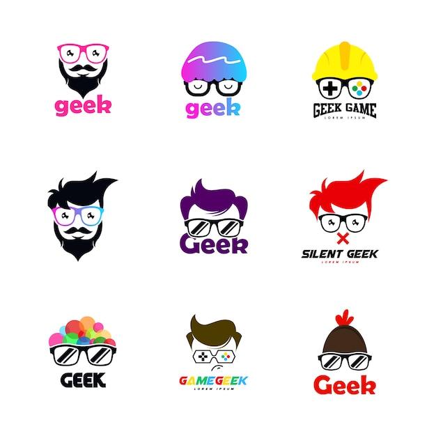 Geek-logo Premium Vektoren